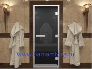 Дверь для хамама стекло черный жемчуг